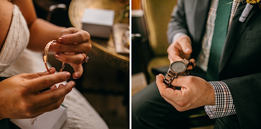 Bride holds her rose gold bracelet, and groom admires his grey watch.