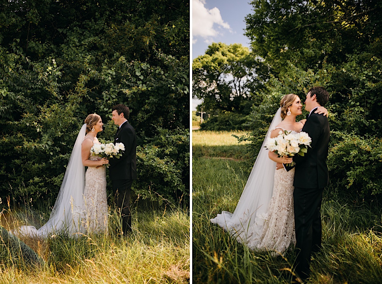bride and groom stand in a grassy field, one of her arms is around his shoulder and they smile at each other