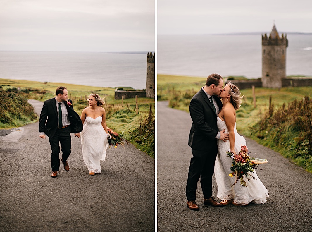 Bride and groom walking in front of a castle in Ireland