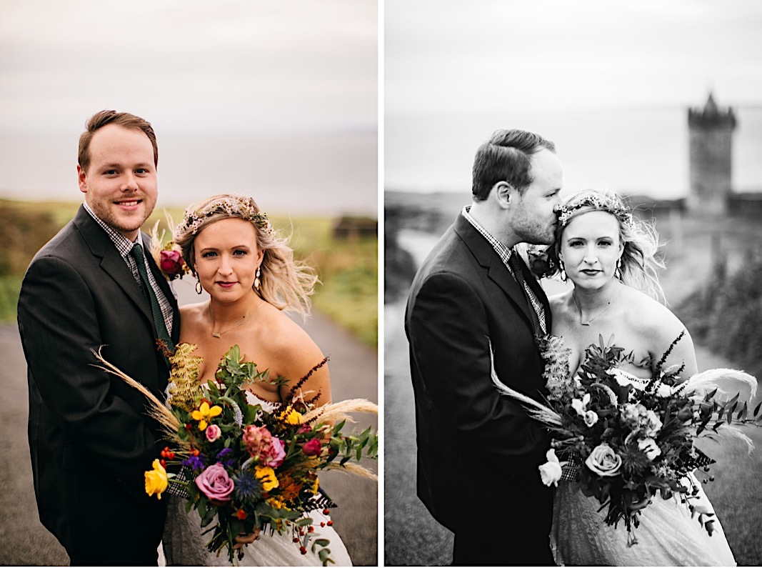 Groom kisses the bride's flower crown for their elopement photos at the Moher Cliffs