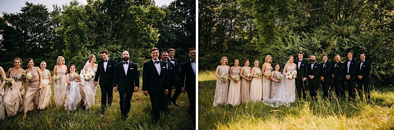 bridal party poses for portraits in a grassy field with tall green trees behind them