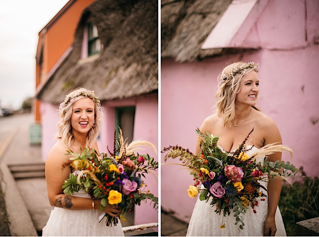 Bride laughs as she poses for photos with her bouquet.