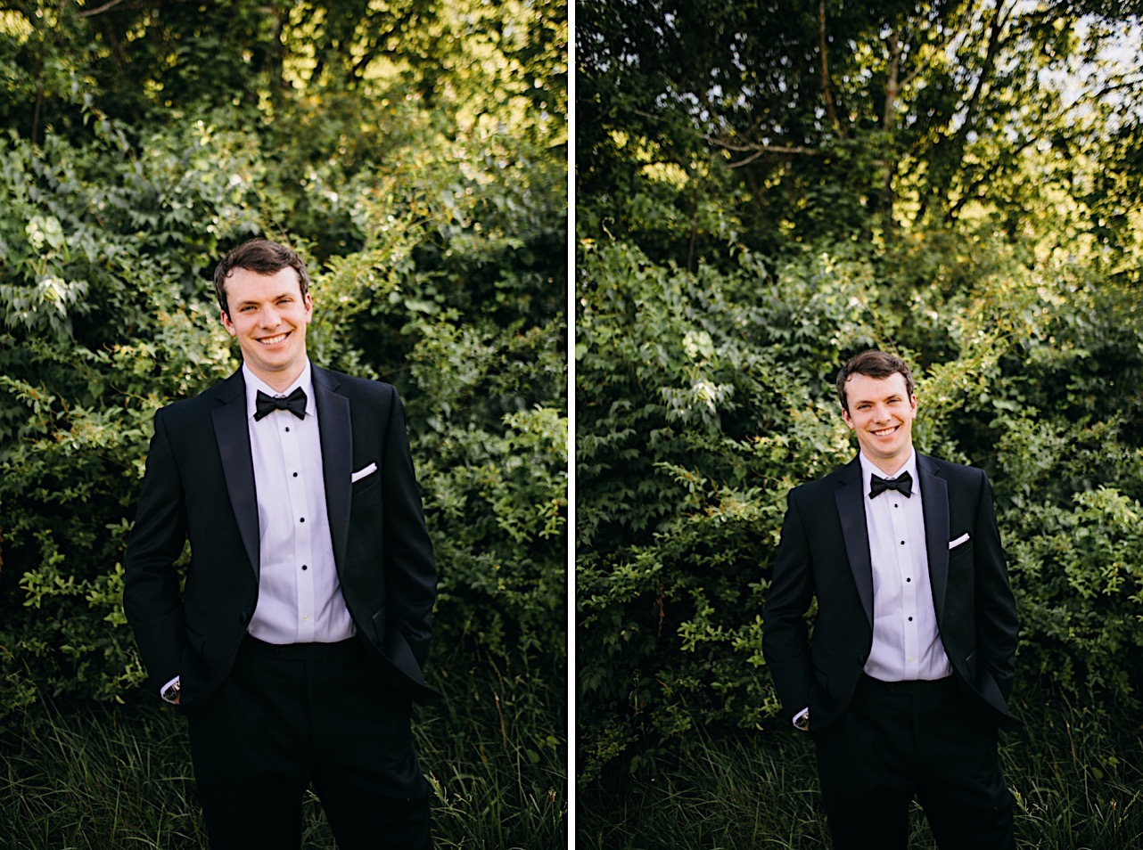 groom in black tuxedo and black bowtie stands in front of green bushes with his hands in his pockets