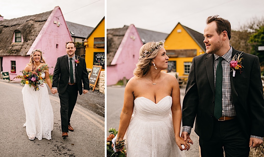 Bride and groom hold hands as they walk down the street for their elopement photos at the Moher Cliffs