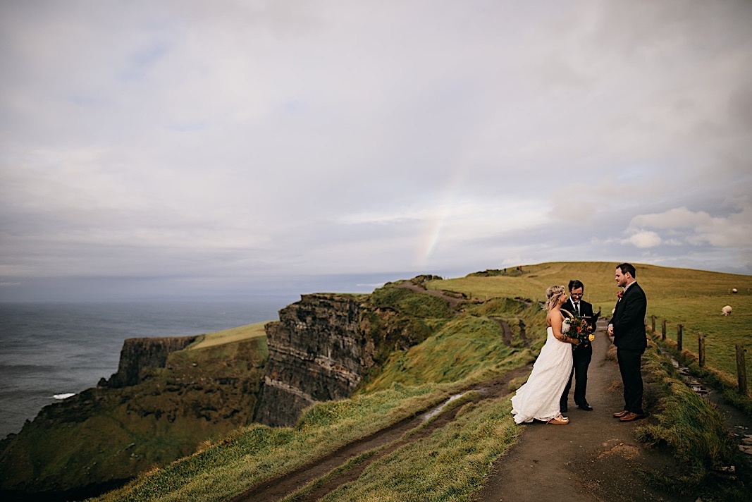 Cliffs of Moher, Ireland elopement with a rainbow