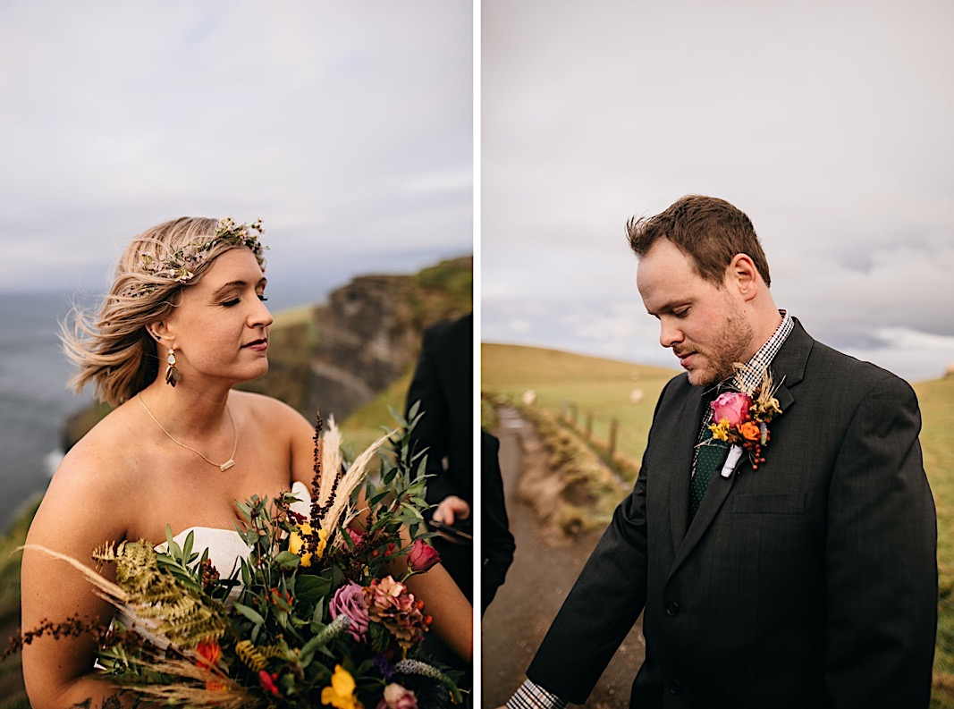 Bride closes her eyes for a prayer during her elopement at the Moher Cliffs