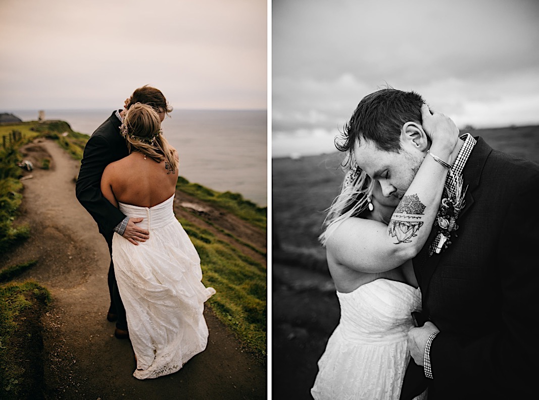 Bride and groom kiss during their elopement at the Moher Cliffs