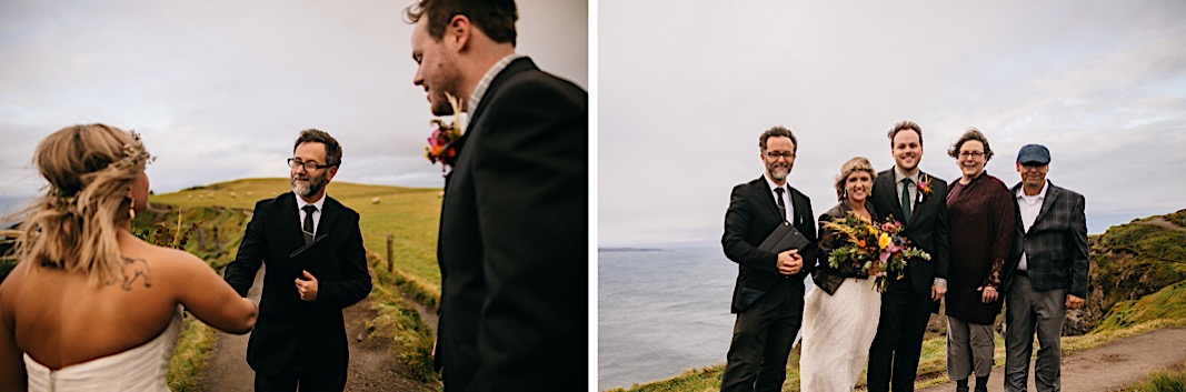 Bride shakes the officiants hand after their elopement at the Moher Cliffs