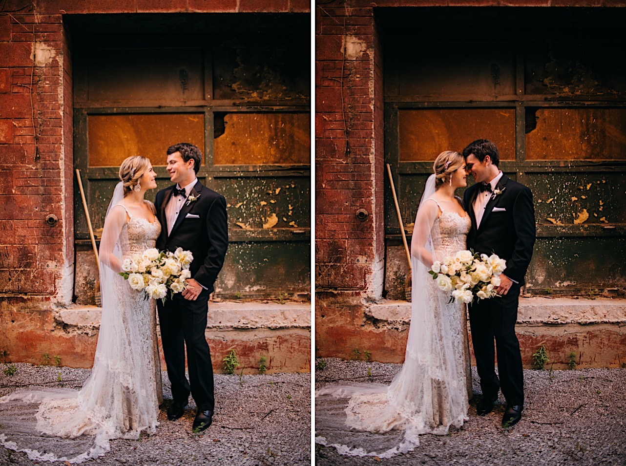 bride and groom smile at each other in a gravel alley in front of rough brick wall and distressed paneled garage door