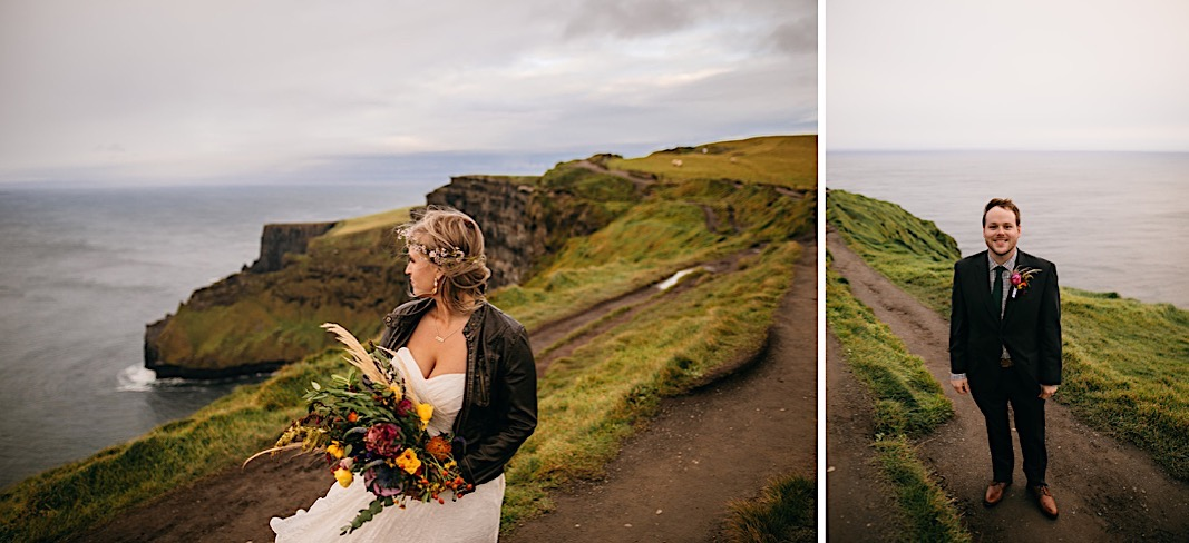 Bride puts on a leather jacket and looks off to the side for her elopement photos at the Moher Cliffs