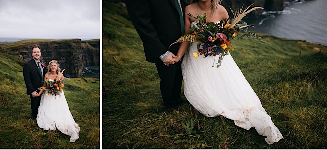 Bride and groom hold hands and laugh for their elopement photos at the Moher Cliffs