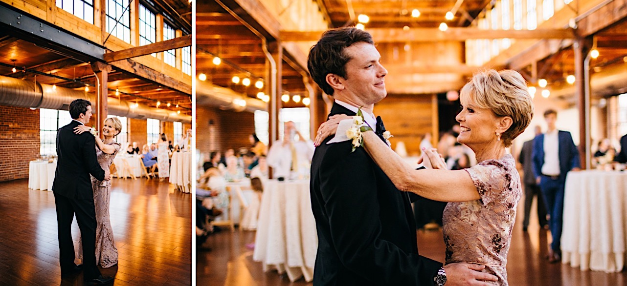 groom dances with his mother under exposed rafters and large windows at his wedding reception at The Turnbull Building