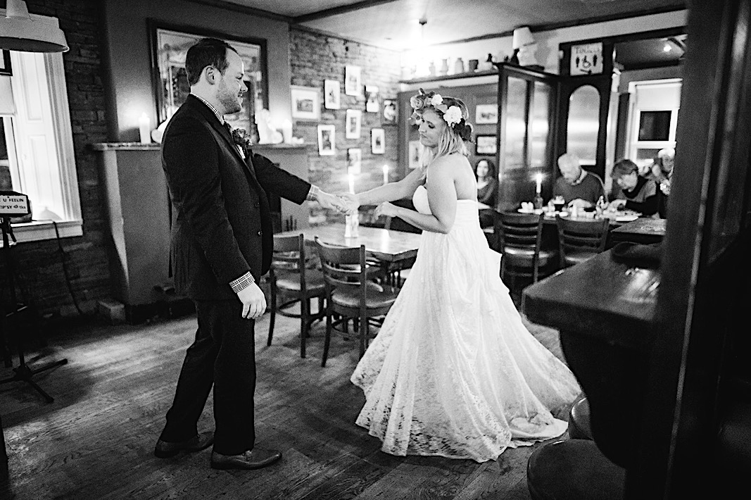 Bride and groom share a dance in the resturant at the Moher Cliffs
