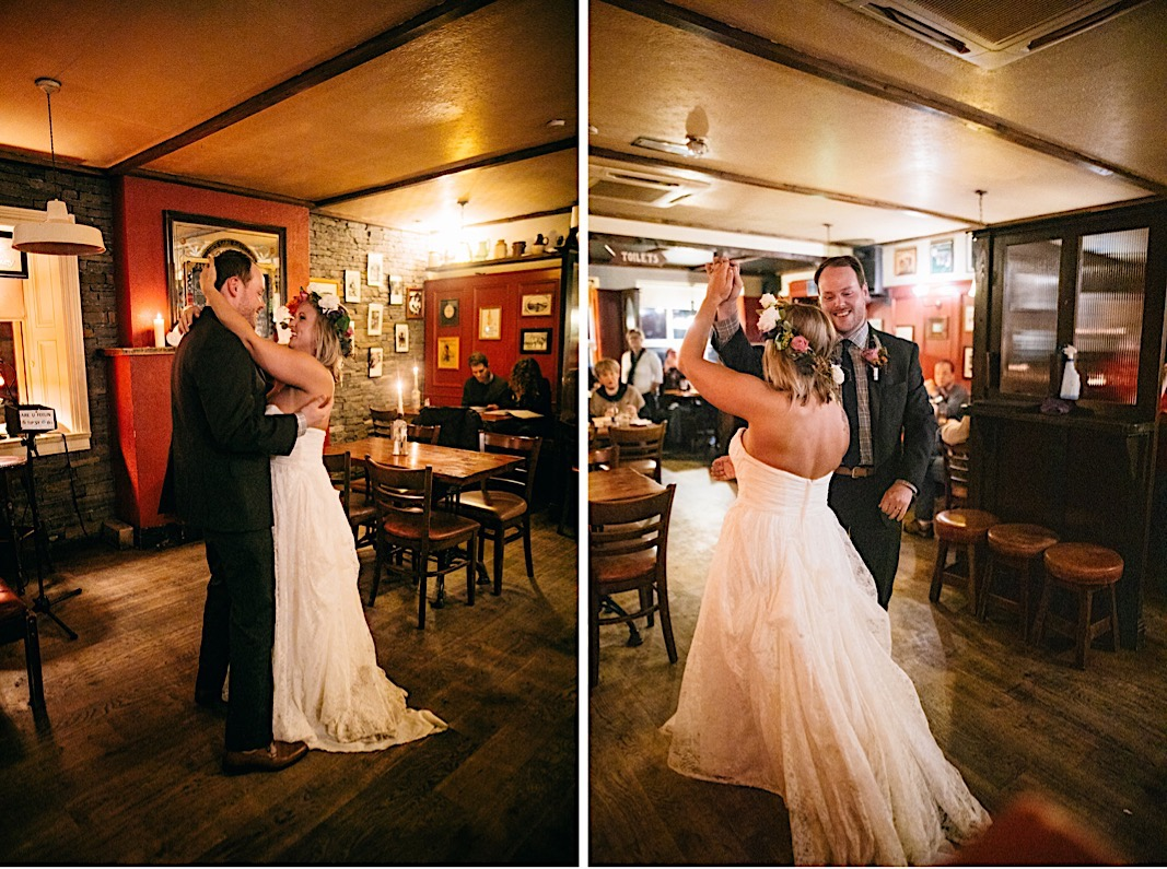 Groom twirls bride during their first dance at the Moher Cliffs
