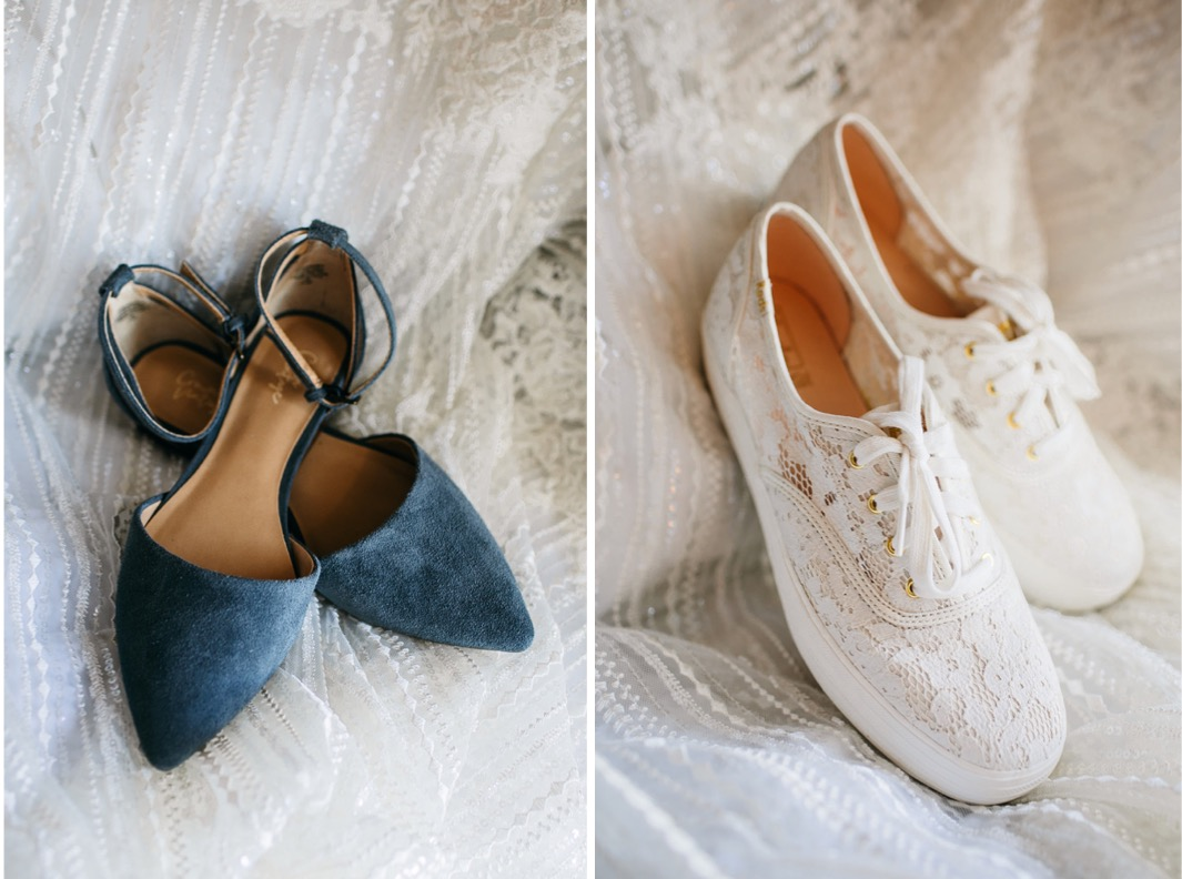 brides shoe choices of lace covered sneakers and blue suede low heels
