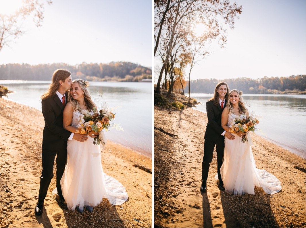 groom holds bride along the banks of the Tennessee River. she carries Southerly Flower Farm bouquet