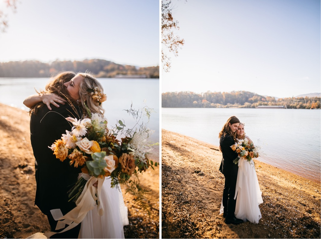bride holds her Southerly Flower Farm bouquet to the side while she hugs groom next to the Tennessee River