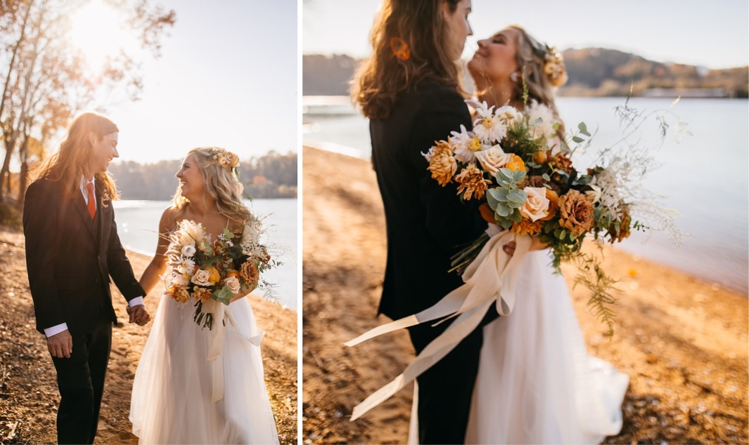 bride and groom hold hands and walk along the bank of the Tennessee River. she carries a large bouquet designed by Southerly Flower Farm