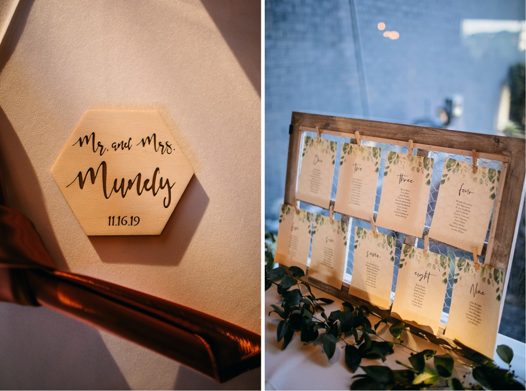 coaster with bride and groom names next to board with table assignments