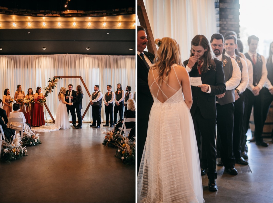 bride smiles while groom reads his wedding vows to her