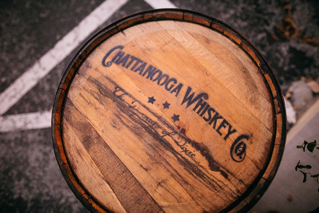 top of whiskey barrel with burnt logo for Chattanooga Whiskey Co.