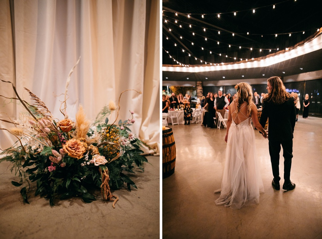 bride and groom enter reception of their Chattanooga Whiskey Distillery wedding