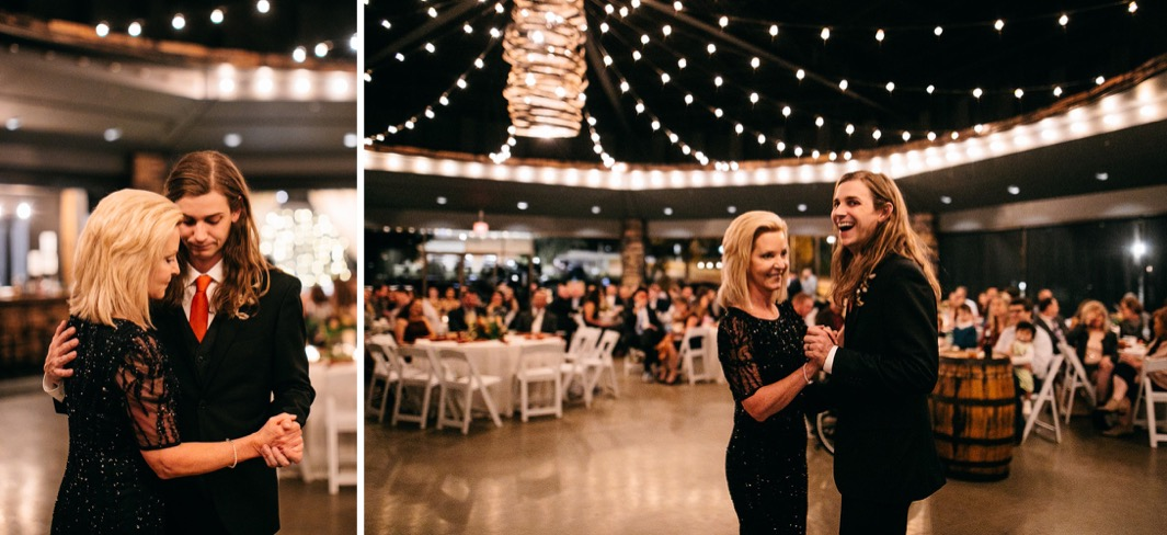 groom and mother share a dance under the white string lights at his Chattanooga Whiskey Distillery wedding