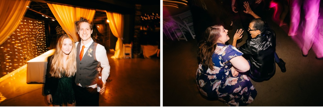 wedding guests dance in a dark room