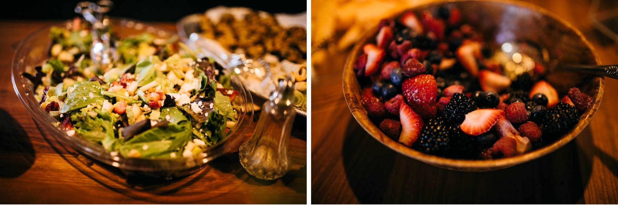 bowls of mixed fruit and green salad