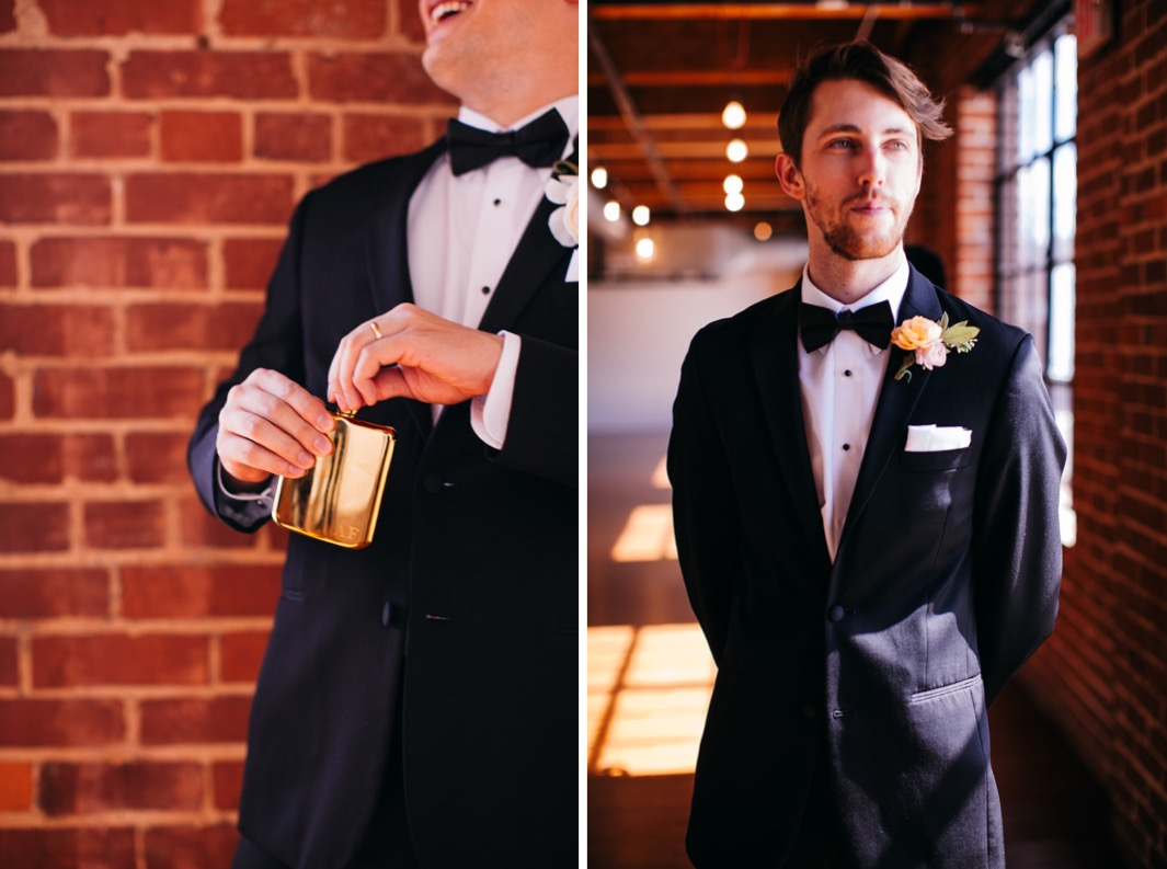 Groom laughs as he opens his flask outside the Turnbull building wedding. Groomsmen is fully dresses in his tuxedo before the wedding at the Turnbull building.