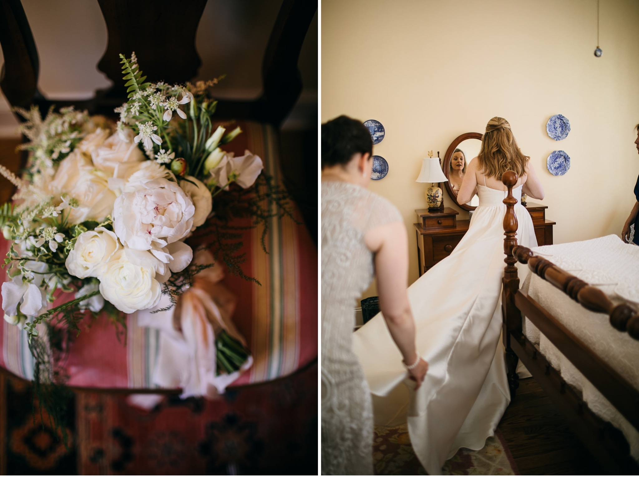 matron of honor spreads train of wedding gown behind bride while bride looks in mirror