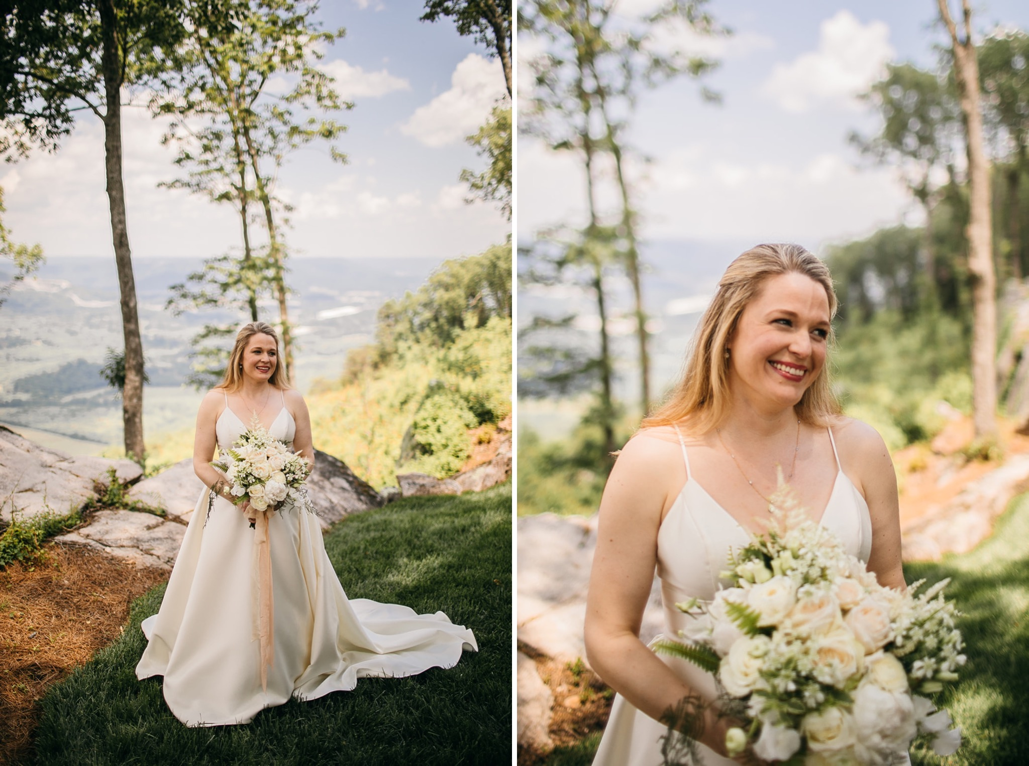 bride holds bouquet of white and light peach flowers at the edge of a cliffside overlooking the Tennessee Valley