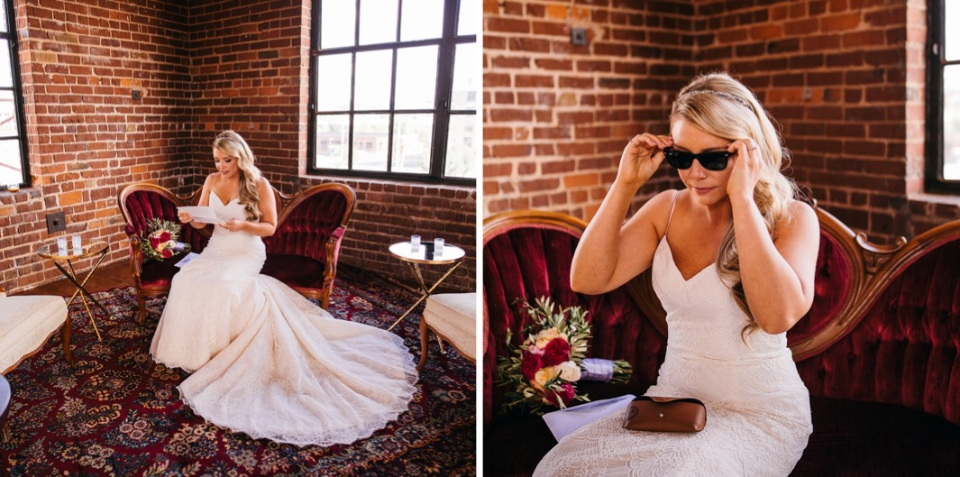 Bride sits on a red velvet chaise as she reads her fathers letter at her wedding at the Turnbull building. Bride puts on a pair of sunglasses as she sits on a red velvet chaise at her wedding at the Turnbull building.