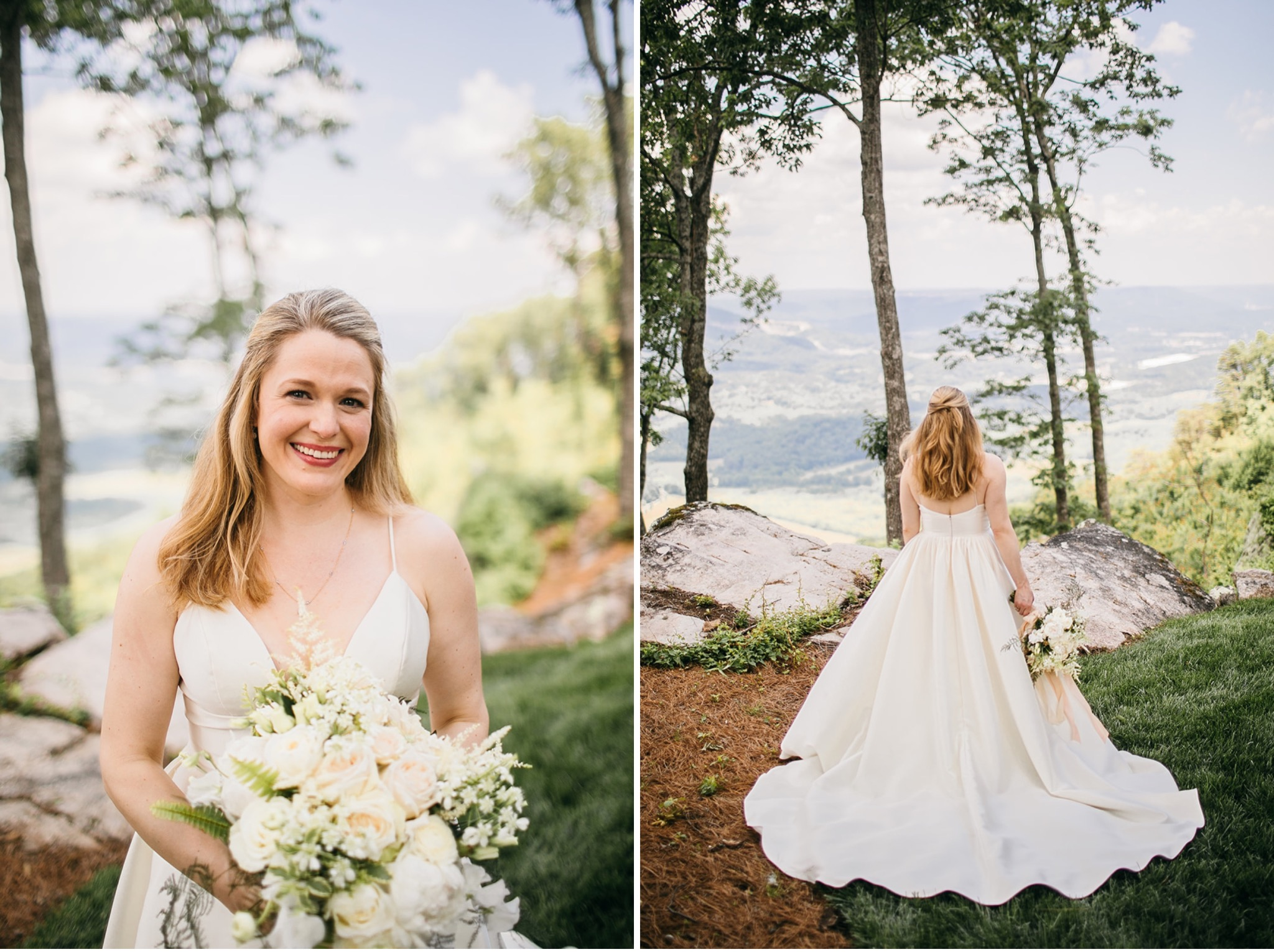 bride in white gown with long train stands in grass at a rocky overlook with view of a wide valley in front of her