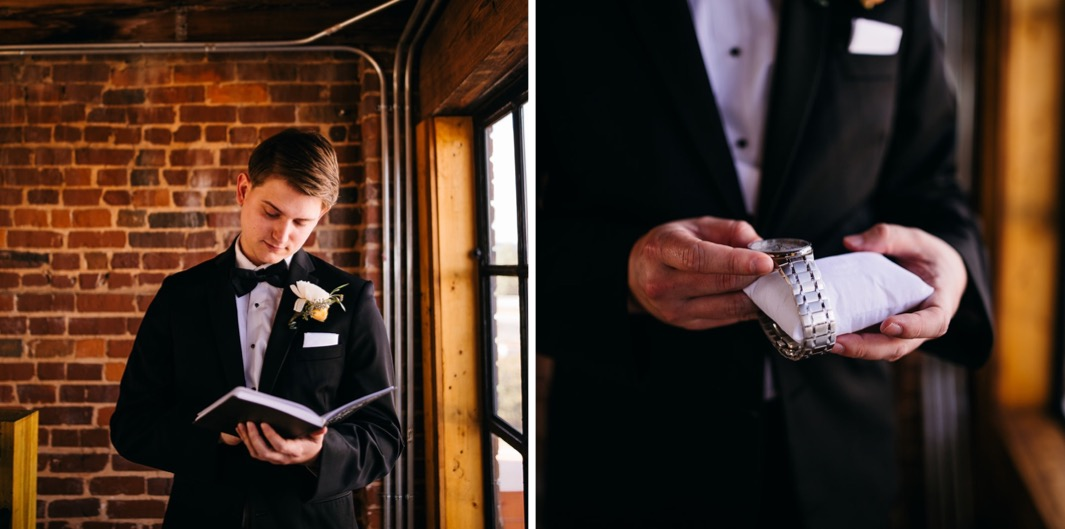 Groom reads through a journal inside the Turnbull building at his wedding. Groom pulls a watch off of a watch pillow.
