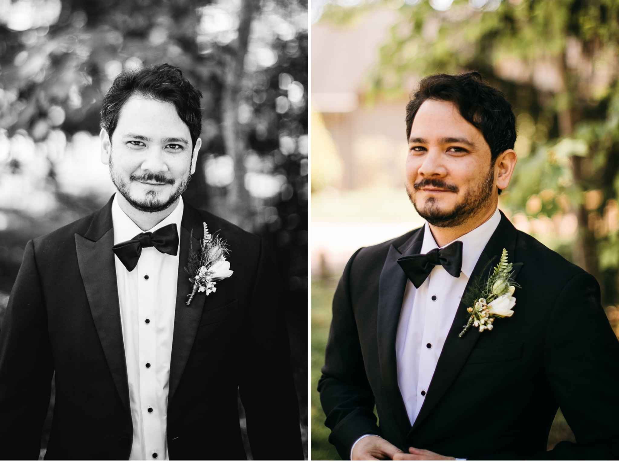 groom buttons his black tuxedo suit coat and smiles