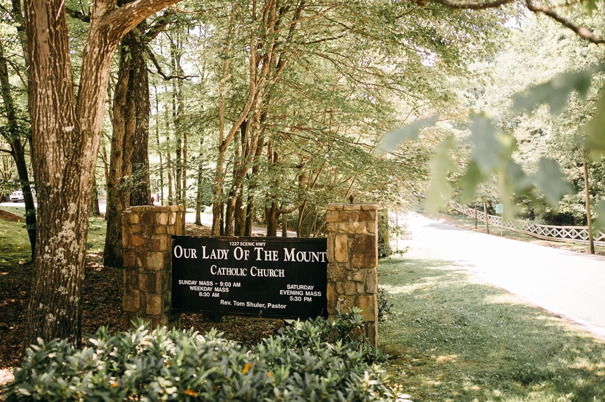 sign for Our Lady of the Mount Catholic Church on Lookout Mountain near Chattanooga