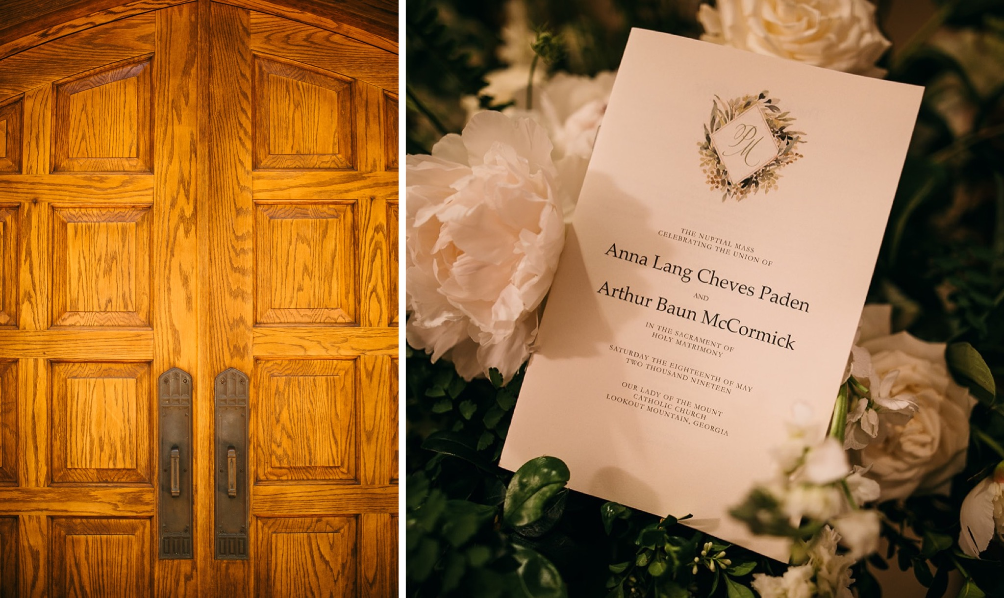 wooden doors of church and classic printed wedding invitation