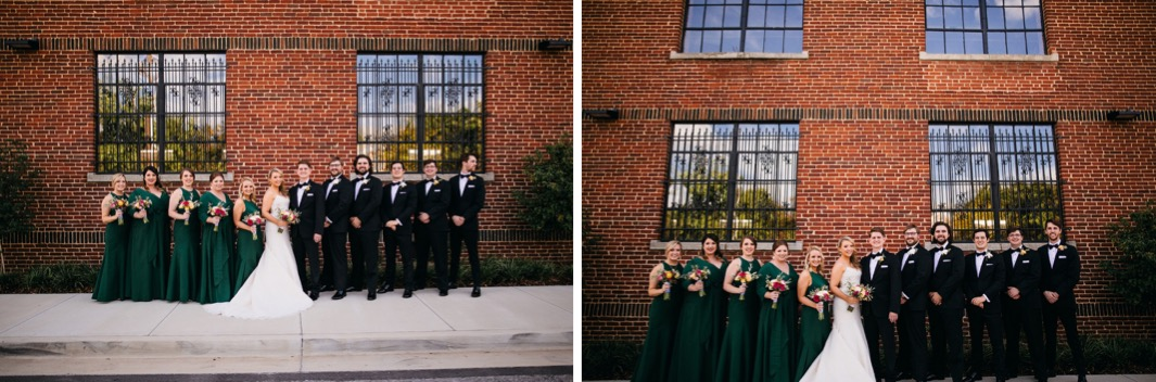 Bride and groom stand with their wedding party outside the wedding at the Turnbull building.
