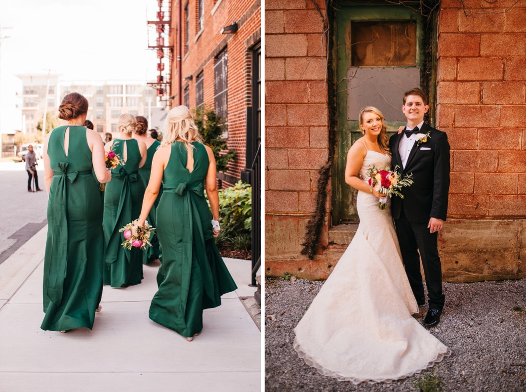 Bridesmaids in forest green dresses walk inside the wedding at the Turnbull building. Bride and groom smile in front of the Turnbull building.