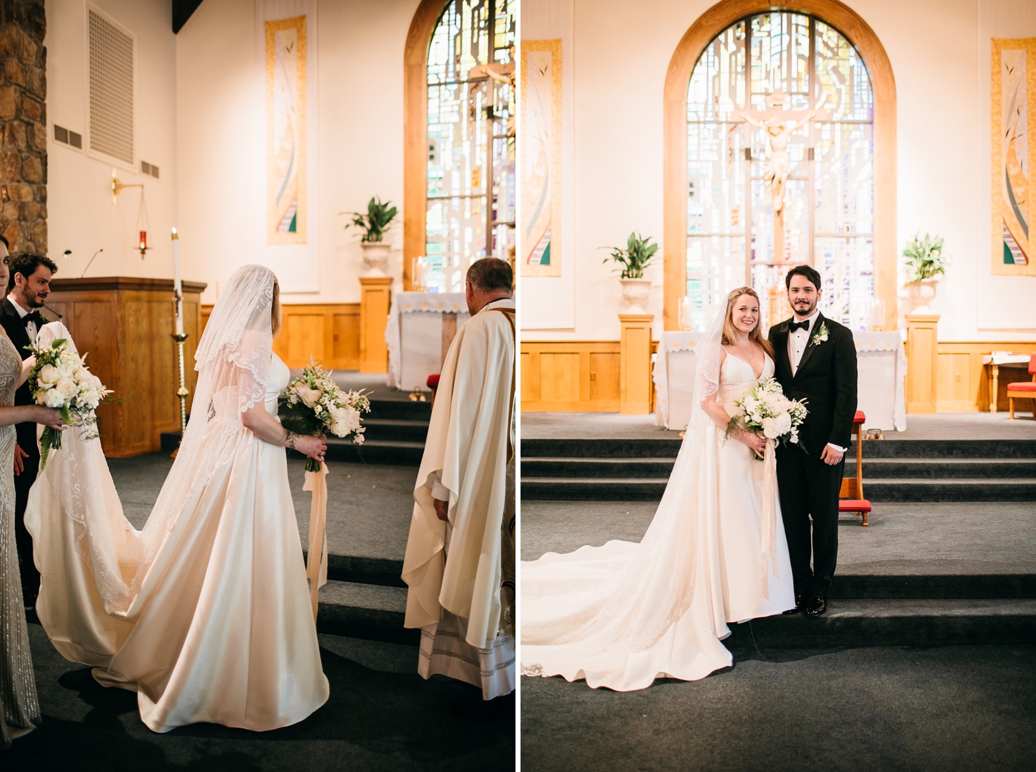 bride and groom stand at the altar of Our Lady of the Mount Catholic Church on Lookout Mountain near Chattanooga