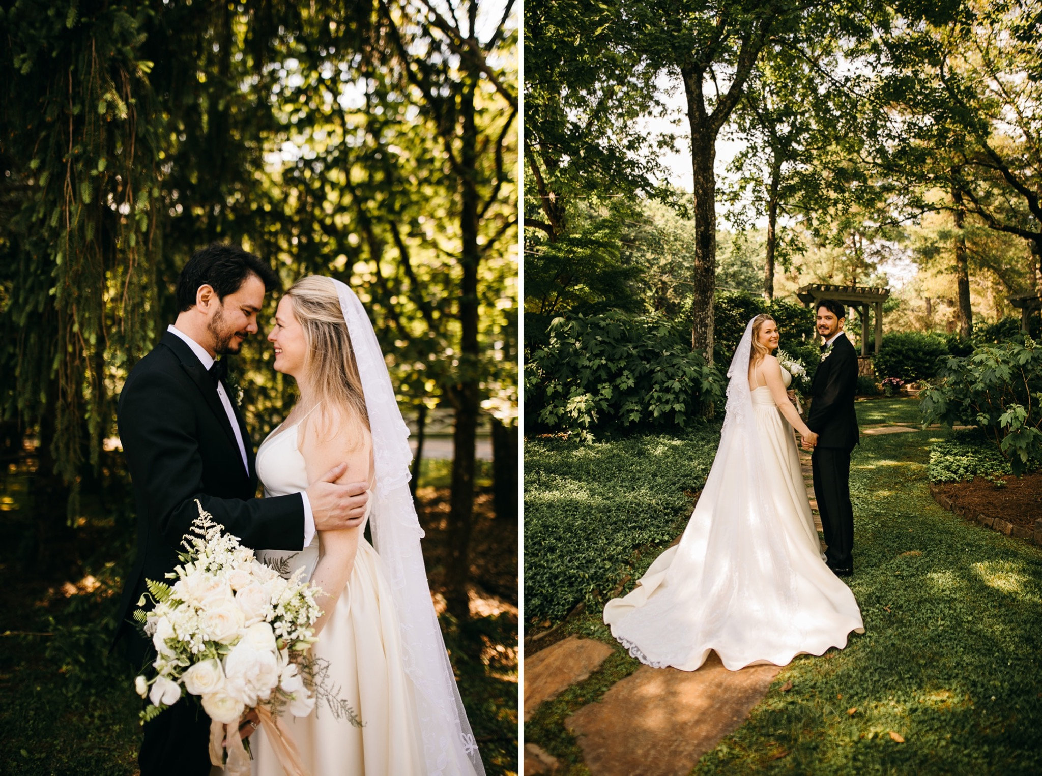 bride and groom walk on rocky path through Lookout Mountain garden