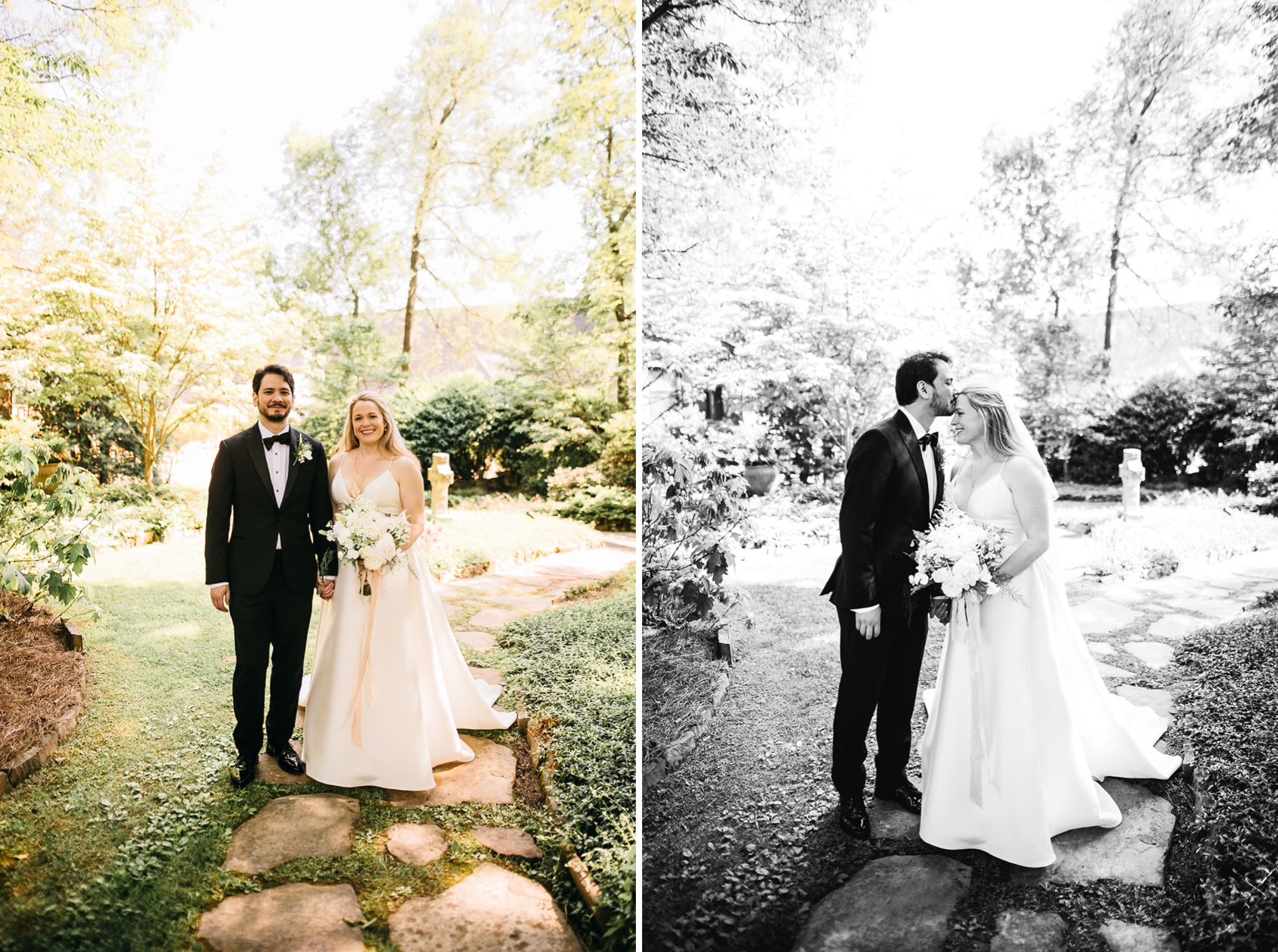 bride and groom hold hands and look at each other while walking on rocky path through lush garden