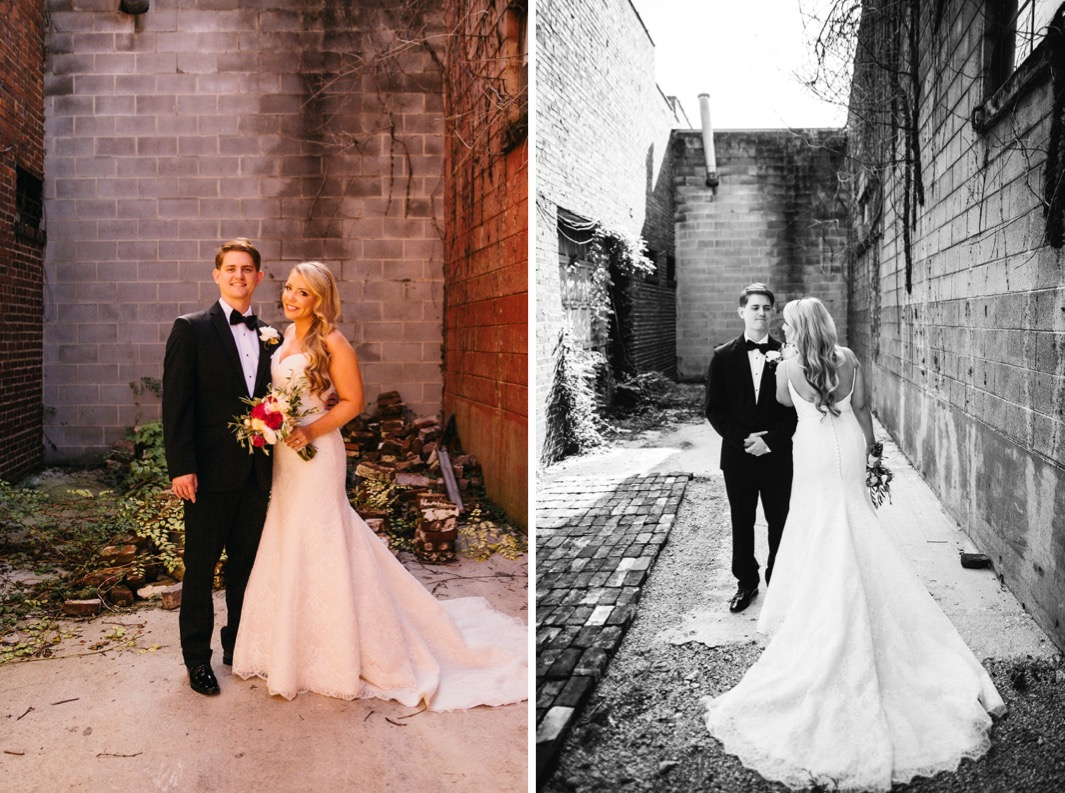 Bride and groom smile as they stand in an alley way outside their wedding at the Turnbull building. Bride puts her hand on the grooms shoulder and shows off the back of her fitted mermaid style wedding dress.