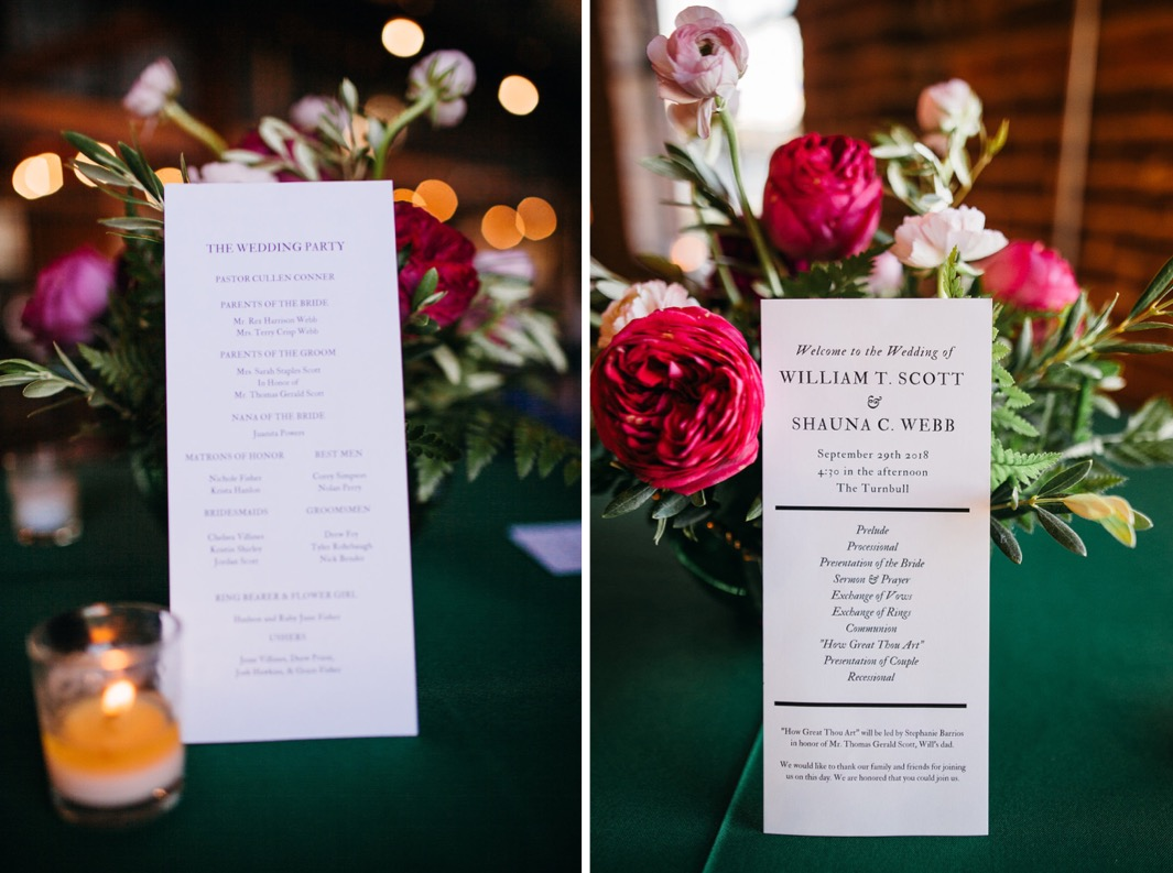 Details of the wedding party and wedding details is laid against a pink peonies centerpiece.
