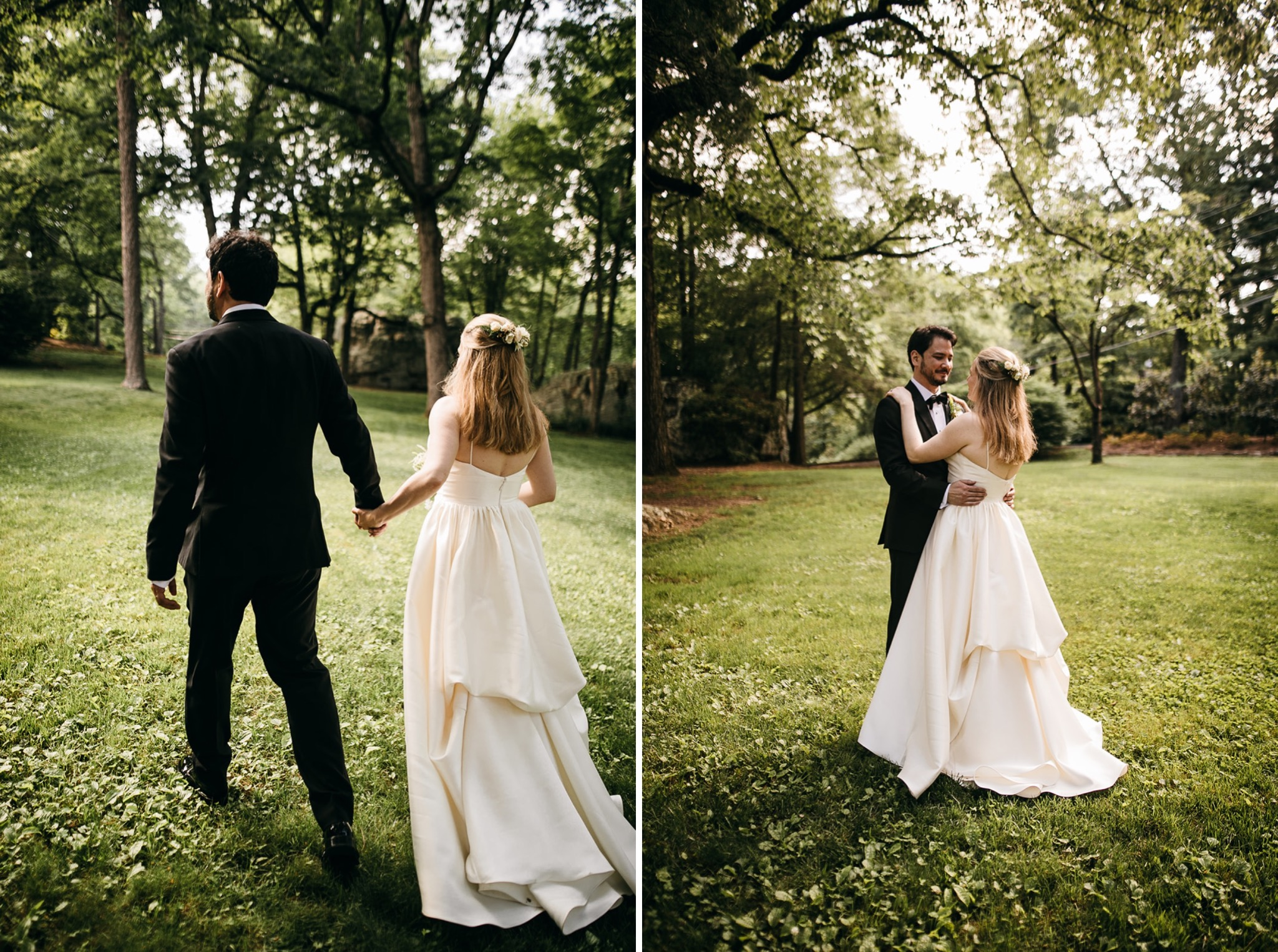 bride and groom hold each other in a grassy field on Lookout Mountain near Chattanooga, TN