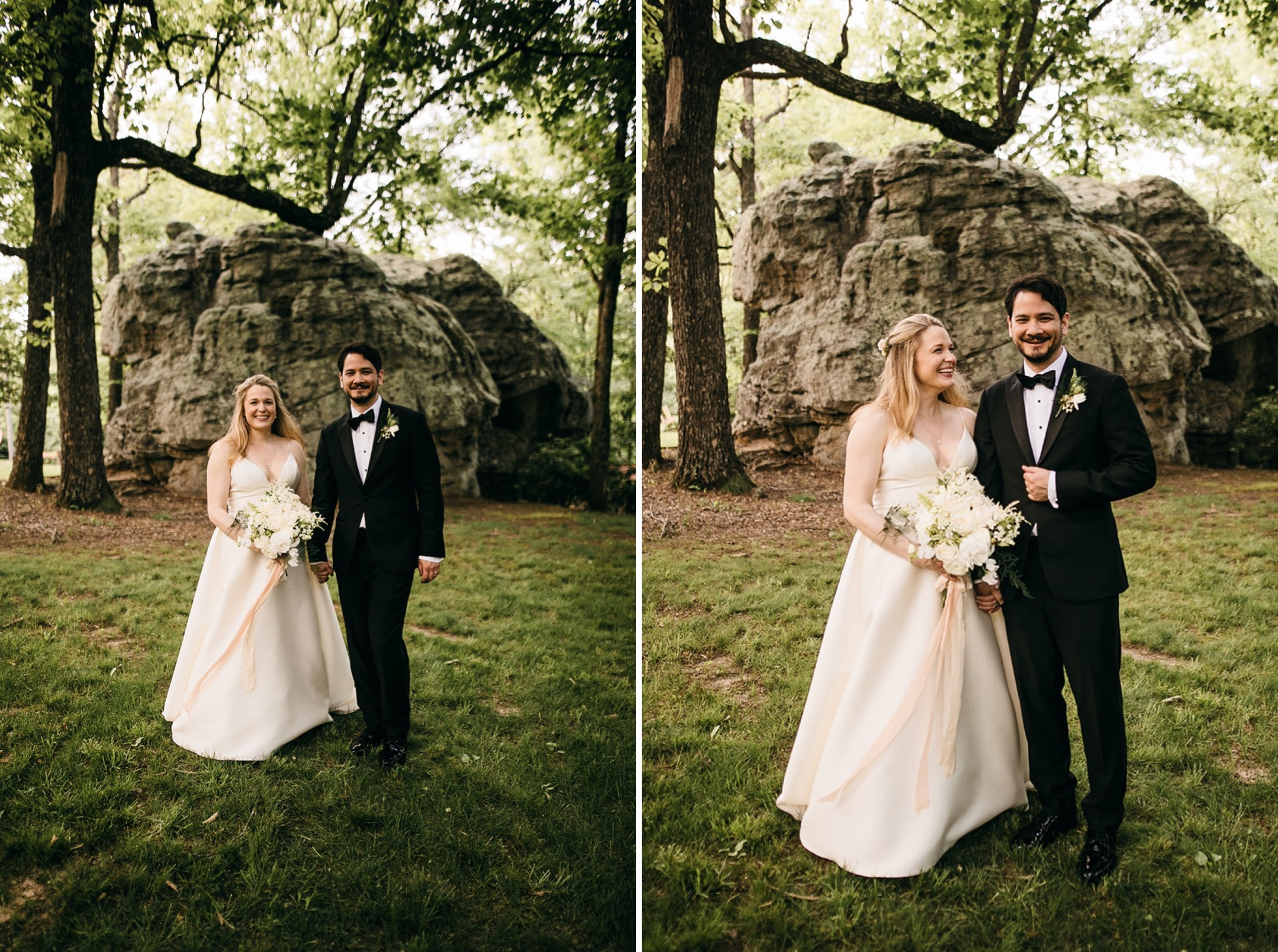 bride and groom walk in grassy field near large rocks on Lookout Mountain near Chattanooga