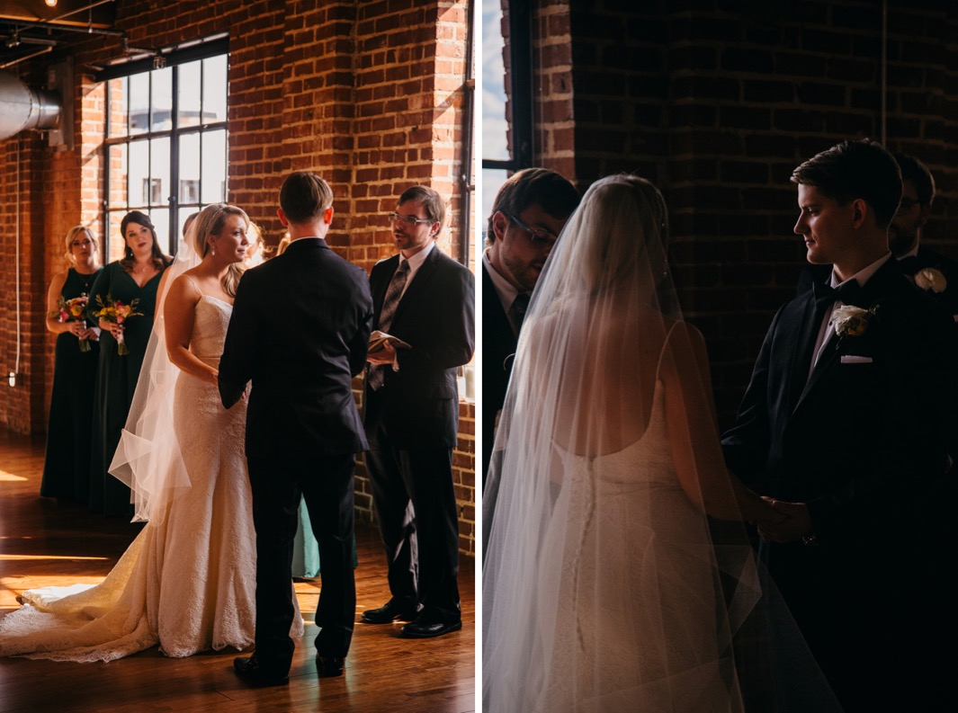 Bride and groom hold hands as they stand at the front of the alter at their wedding in the Turnbull building.