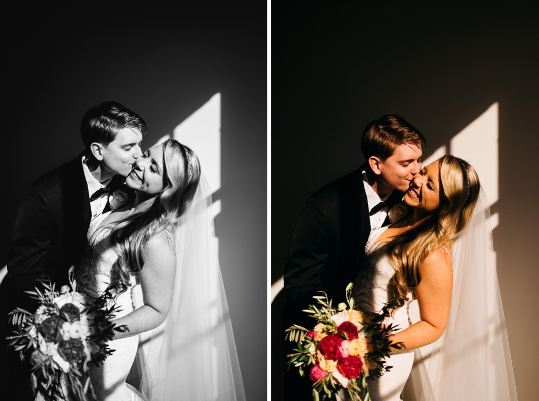 Groom kisses the brides cheek as she laughs during their wedding at the Turnbull building.