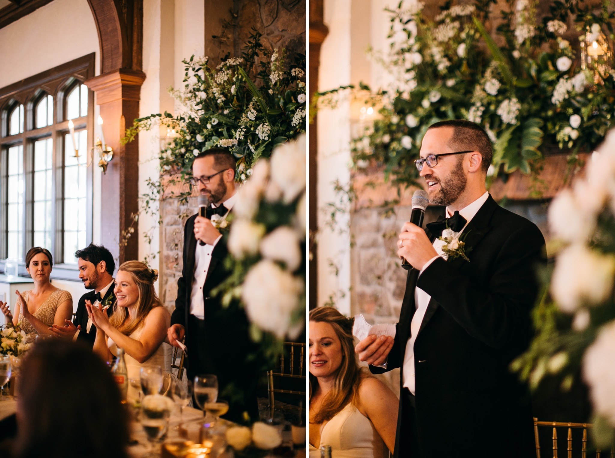 man stands next to bride and groom and gives his wedding toast into a microphone